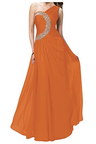 TOSKANA BRAUT Damen Ein-Schulter Sterne Chiffon Abendkleider Lang Brautjungfern Fest Party Ballkleider Orange