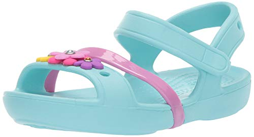 Crocs lina charm sandal k, punta aperta unisex-bambini, blu (ice blue 4o9), 29/30 eu