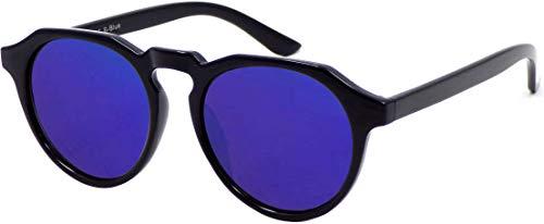 La Optica B.L.M. UV400 CAT 3 Unisex Damen Herren Sonnenbrille Rund Round - Einzelpack Glänzend Schwarz (Gläser: Blau verspiegelt)