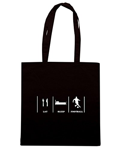 T-Shirtshock - Borsa Shopping WC1150 Eat Sleep Football Maglietta Nero