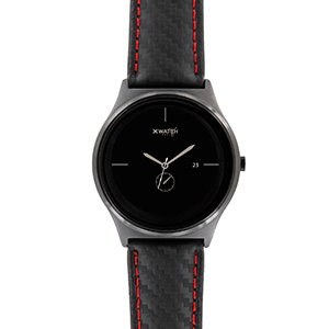 X-WATCH | QIN XW PRIME II carbon red black ultra slim smart watch for Android and iOS – elegant premium men's smart watch with genuine leather smart watch strap
