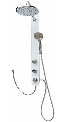 duschpaneel aufputz Glas Duschpaneel Brausepaneel Duschsäule mit Sanitär Sicherheitsglas Duschsystem Komplettdusche große runde Regendusche Wellnessdusche Duscharmatur Massagedüsen Handbrause Duschkopf