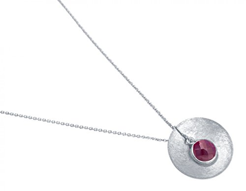 Gemshine - Collar - Colgante - Plata de Ley - DISCO - Rubí - Rojo - 45 cm