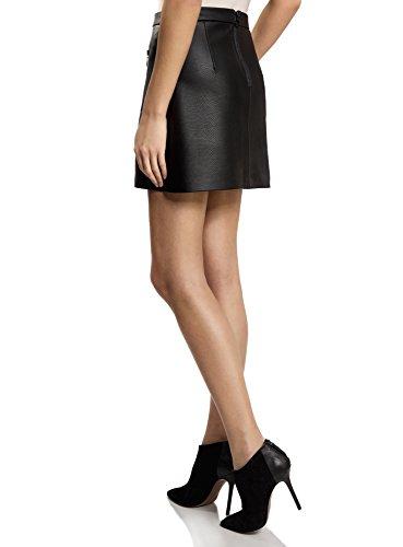 oodji Ultra Damen Kunstlederrock mit Zierreißverschlüssen Schwarz (2900N)