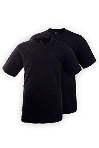 JP 1880 Herren große Größen T-Shirt, 2er Pack, Halbarm, Rundhalsausschnitt schwarz, schwarz 3XL 702637 10-3XL