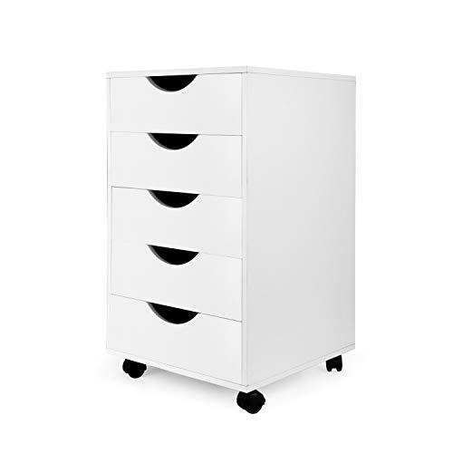 eMerit Schubladenbox mit 5 Schubladen, Holz, Weiß -