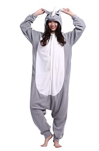 Kostüm Rhino - Unisex Pyjama/Schlafanzug/Einteiler, Tiermotiv, für Halloween, Cosplay-Kostüm Gr. Small, Grey Rhino