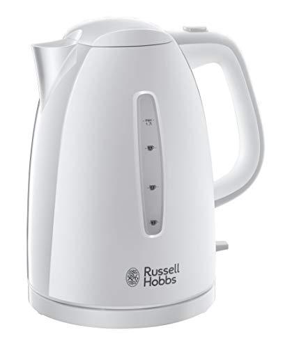 Russell Hobbs Textures - Hervidor de Agua Eléctrico (2400W, 1,7l, Plástico Alto Brillo, sin BPA, Blanco) -ref. 21270-70