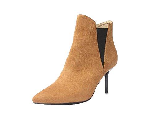 Honeystore 2016 Neuheiten Frauen Kunstleder St枚ckel Absatz Absatzschuhe Geschlossene Zehe Stiefel Stiefelette Schuhe Kamel