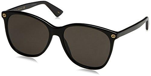 Gucci Damen GG0024S 001 Sonnenbrille, Schwarz (Black/Grey), 58