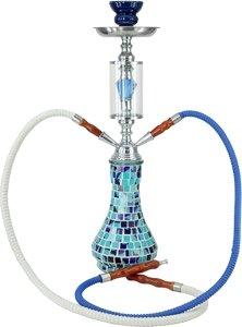 Blaue LUXUS Mosaik SHISHA 2 Schläuche 0230134