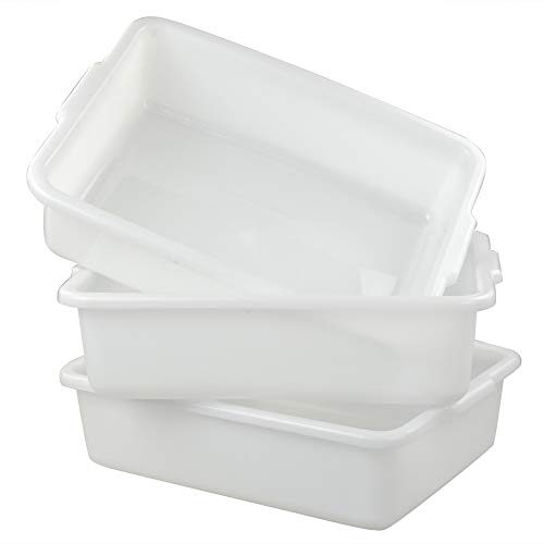 Ucake Barreño Barreños Cubeta Cubetas Plastico Almacenaje Grande Rectangular, Blanco, 3 Paquetes