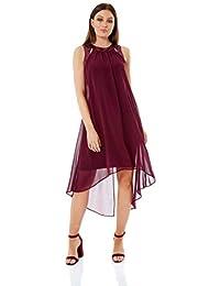 534ca64a Roman Originals Women Cut Out Sequin Neck Dress - Ladies A-Line Chiffon  Embellished Sleeveless