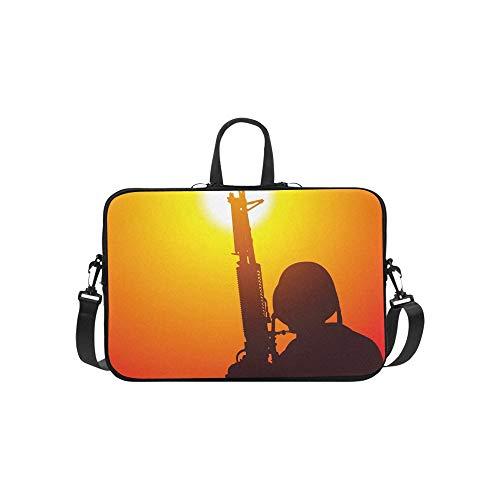 Soldat Maschinengewehr auf Sonnenuntergang Aktentasche Laptoptasche Messenger Schulter Arbeitstasche Crossbody Handtasche für ()