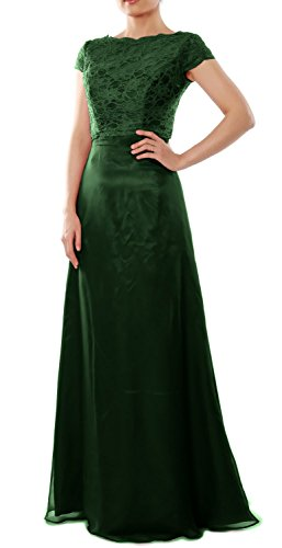 MACloth Elegant Cap Sleeve Long Bridesmaid Dress Wedding Party Gown with Jacket Dark Green