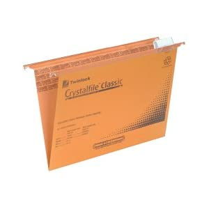 Rexel Crystalfile Classic Suspension File Manilla V-base 15 mm Foolscap - Pack of 50, Orange