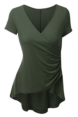 SMITHROAD Damen TShirt Sommer Kurzarm VAusschnitt mit Falten Stretch  Asymmetrisch Vokuhila Unifarben 10 Farben Olivgrün