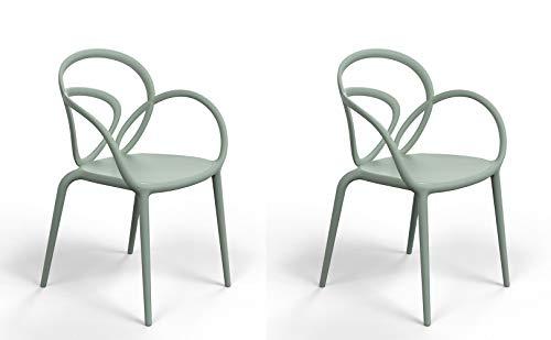 Qeeboo 30001GE Loop Set Sedie con Cuscino, Polipropilene, Verde Salvia, 52x56x84 cm 2 unità