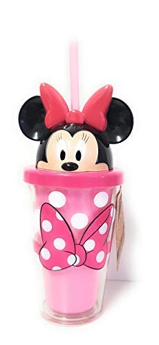 Disney Minnie Mickey Maus' 3D Kopf' Flasche mit Stroh Wasserglas - Rosa Minnie (Minnie Maus Kopf)