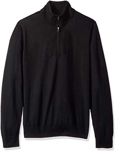Buttoned Down Herren Leichter Cash-Wolle-Pullover aus Italienischer Merinowolle mit Reißverschluss ,Schwarz ,Schwarz (Black Bla) ,XX-Large - Wolle Italienische Herren-kleid