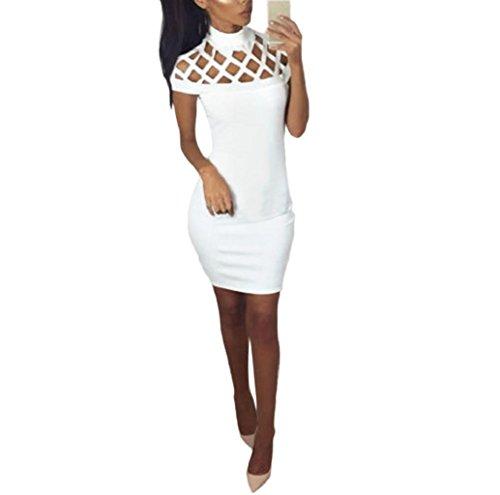 Rosennie Damen Halsband Hoch Hals Bodycon Eingesperrt Sleeves Mini Kleid Weiß
