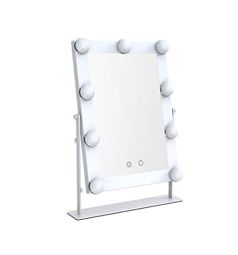 2-licht Abgeschrägten Glas (LXYFMS Kosmetikspiegel mit LED-Leuchtmittel, Hollywood-Stil, Kosmetikspiegel weiß)