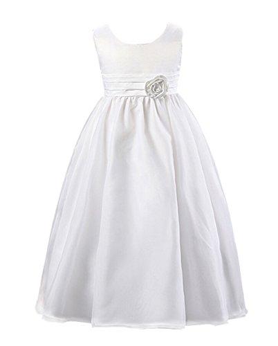 SMITHROAD Kinder Mädchen Prinzessin Blumenmädchen Kleid Lang Festlich Hochzeit Tüll mit Blumen Schleife Dekor Ärmellos Weiß Gr.92-98 (Kleid Schleife Kleine)