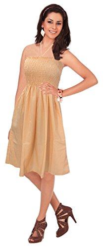 La Leela solido partywear capestro backless smocked tubo corto abito gelo arancione
