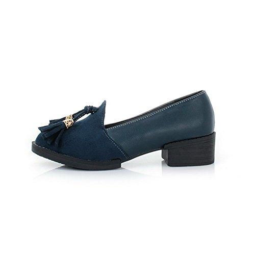 VogueZone009 Donna Tirare Plastica Punta Tonda Tacco Basso Puro Ballet-Flats Azzurro