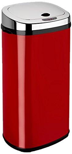 Dihl Mülleimer mit Sensor, rechteckig, 42l, Schwarz, Metall, Rot, 42 L (Recycle Automatischer Mülleimer)