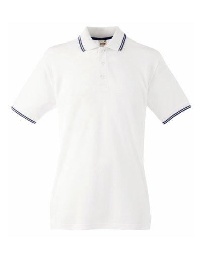 Fruit of the Loom Herren Poloshirt White (White/Deep Navy)