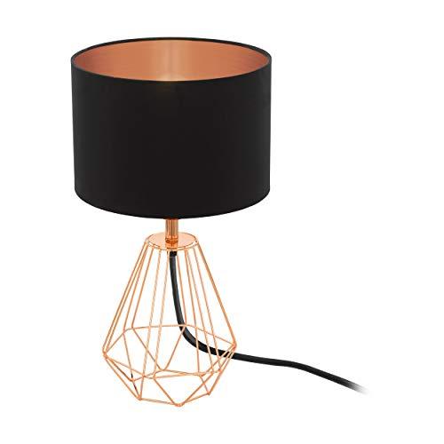 EGLO Tischlampe Carlton 2, 1 flammige Vintage Tischleuchte, Nachttischlampe aus Stahl und Stoff, Farbe: Kupfer, schwarz, Fassung: E14, inkl. Schalter