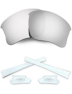HKUCO Silver Polarized Replacement Lenses and White Earsocks Rubber Kit For Oakley Flak Jacket XLJ Sunglasses