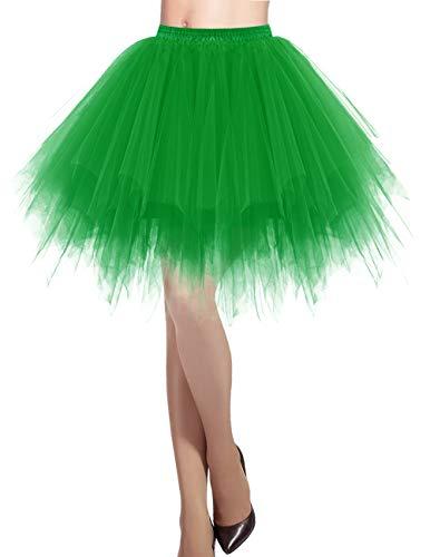 Mit Frauen Tutus Kostüm - Dresstells Damen Tüllrock 50er Rockabilly Petticoat Tutu Unterrock Kurz Ballett Tanzkleid Ballkleid Abendkleid Gelegenheit Zubehör Green XL