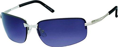 CHICNET Hochwertige Sonnenbrille Herren getönt 400 UV Frameless breit Metall Sport Bügel platt Silber