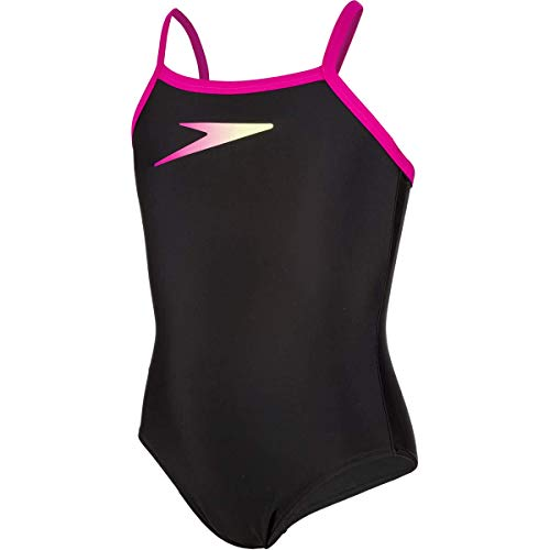 Speedo Boom Placement Thinstrap Muscleback Bañador, Niñas, Negro boomicon/Rosa eléctrico, 28