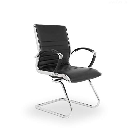 VERSEE Design Besucherstuhl Montreal - Echt-Leder - schwarz - Konferenzstuhl, Freischwinger, Schwingstuhl, Meetingstuhl, Besprechungsstuhl,...
