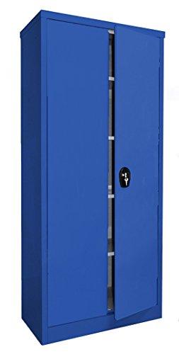 Stahlschrank, 180x80x40 cm, 4 Böden, Drehverschluss, (RAL5010) blau (Ordnerschrank Büroschrank Werkzeugschrank Metallschrank)