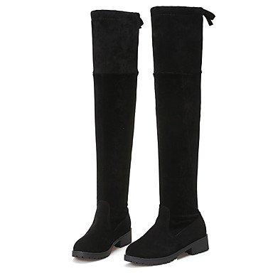 Rtry Femmes Chaussures Fourrure Automne Hiver Mode Bottes Bottes Chunky Genou Bottes À Talons Pour Casual Party & Amp; Soir Noir Noir Noi4-4.5 / Eu34 / Uk2-2.5 / Cn33 Us6.5-7 / Eu37 / Uk4.5-5 / Cn37