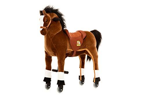Animal Riding ARP002M Reitpferd Amadeus medium/Large (für Kinder ab 5 Jahren, Farbe braun, Sattelhöhe 67 cm, mit Rollen), M/L