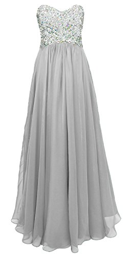 MACloth Women Strapless Crystal Chiffon Long Prom Party Dress Evening Ball Gown Silber