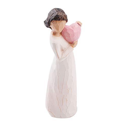 Angelo della resina figurine pink heart in mano ragazza di angelo della scultura della statua della tabella della casa decor angelo figurine