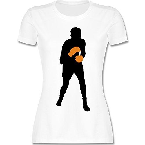Kampfsport - Boxer - tailliertes Premium T-Shirt mit Rundhalsausschnitt für Damen Weiß