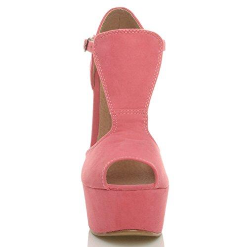 T Hohe Coral Damen Riemen Gr枚脽e Toe Schuhe Pink Suede Sandalen Plateau Peep Keilabsatz gEnSOxdUn