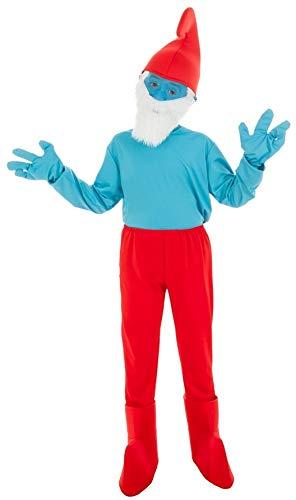 Blaue Schlumpf Kostüm - Generique - Die Schlümpfe-Papa Schlumpf Kostüm für Kinder blau-rot 140 (9-10 Jahre)