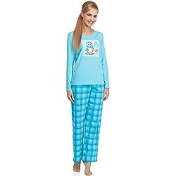 Cornette Pijama Conjunto Camiseta y Pantalones Ropa de Casa Mujer CR-655-Arctic Friend (Turquesa, XL)
