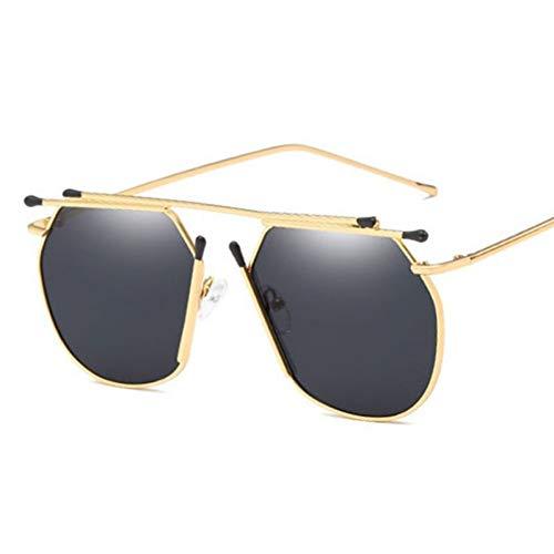 TIANKON Metallrahmen-Sonnenbrille-Frauen-Mode-Sonnenbrille-Männer klären rote Gläser,Schwarzd