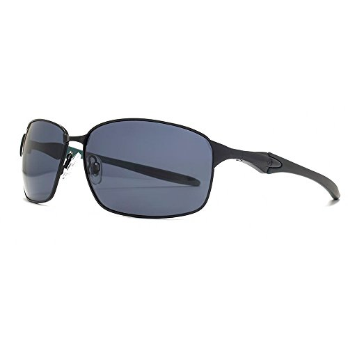 5b11c1e7a2 Freedom Polarised Quebec Oval Metal Sunglasses in Matte Black on Green  FRG145412 One Size Grey Polarised