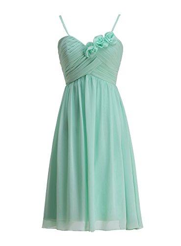 KekeHouse® A-Linie Knielang Brautjungkleid Mutter Tochter Abendkleid Plissiert Partykleid Blumenmkleid Mintgrün Maßanfertigung