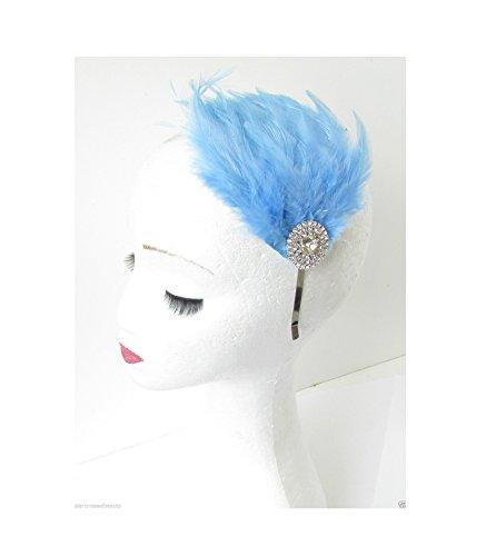 Bibi à plumes Bleu clair argent Bandeau Frozen Vintage Années R56 * * * * * * * * exclusivement vendu par – Beauté * * * * * * * *